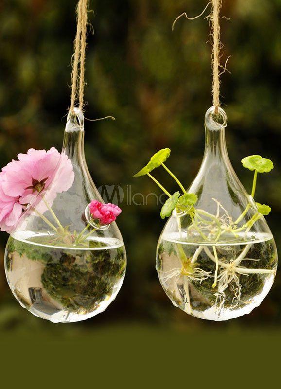 [4,51€] Vase de fleurs suspensible en verre, forme de goutte d'eau transparente