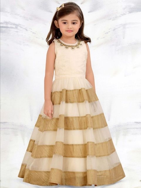 Golden & Off White Color Girl's Gown