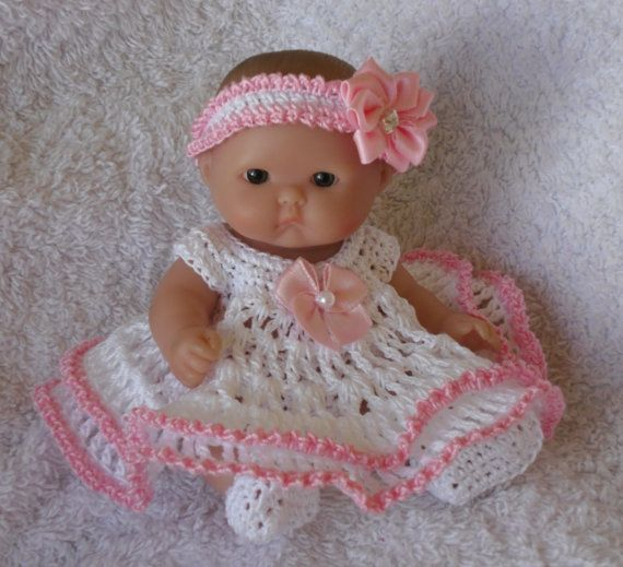 Crochet pattern for Berenguer 5 inch baby doll - dress, knickers, hairband and shoes set