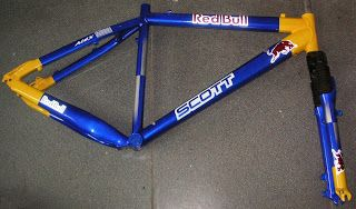 Custom Painted Bicycle Frame with Red Bull Colors #132 ~ Hand Painted Helmets - Design your helmet today..!!