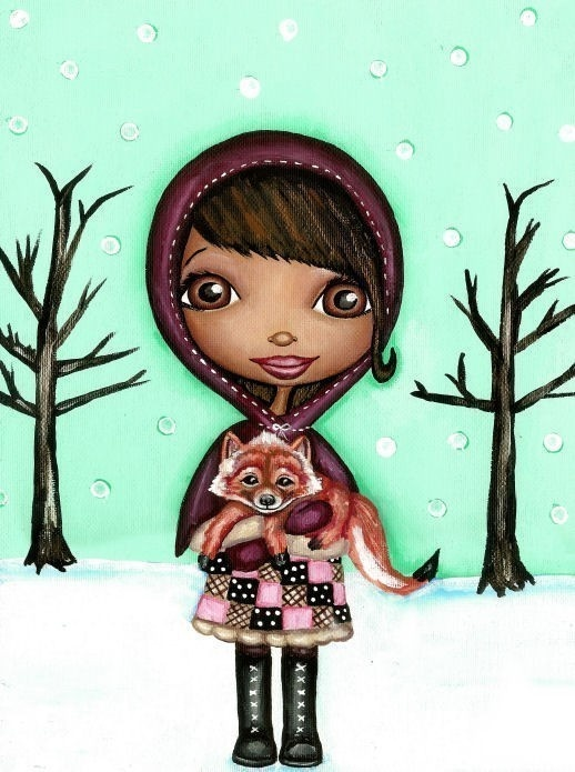 Cute African American Girl With Fox On Winter by thedreamygiraffe, $18.00