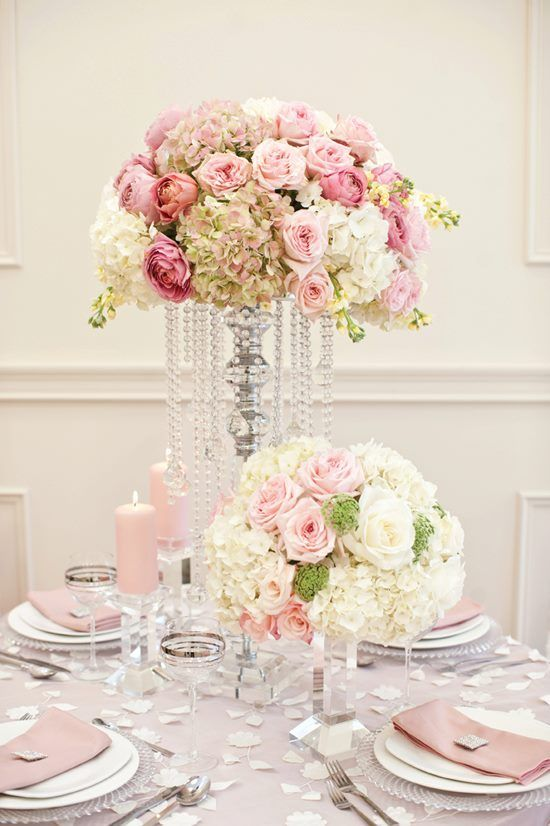 Love the pink & cream floral arrangements and the container dripping with crystals