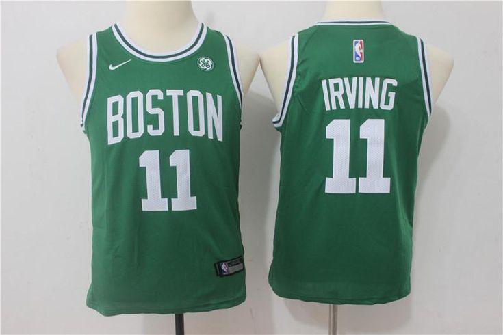Youth kids Celtics #11 Kyrie Irving Basketball stitched Jersey green