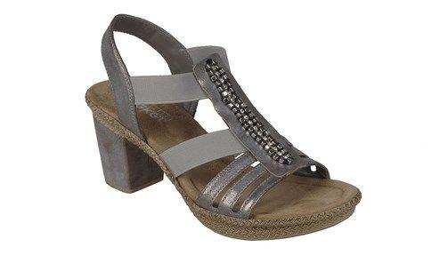 Rieker sandal med fine pynte perler, og elastik remme foran, så den er nem lige at smutte i.