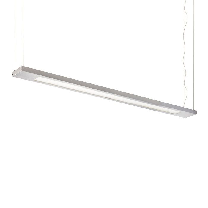 STRUCTURAL PENDANT 5X14 | rendl light studio | Rectangular pendant for fluorescent tubes. Sleek design with an aluminum frame, opal-colored PMMA diffuser and a transparent three-core cable. Unidirectional. #lighting #office #pendant