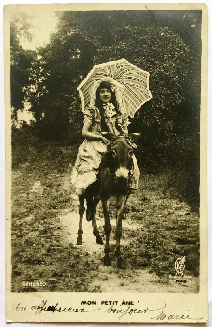 Girl with umbrella * My little donkey * Antique French postcard * Early 1900s Black and White Photograph * Undivided back by ExcusemyFrenchShop on Etsy