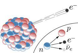 β− decay in an atomic nucleus (the accompanying antineutrino is omitted). The inset shows beta decay of a free neutron. In both processes, the intermediate emission of a virtual W− boson (which then decays to electron and antineutrino) is not shown.