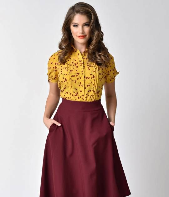 3a51551ed80 Its a vintage code, dames! Unique Vintages own Colvin Blouse is a retro  style top in lovely mustard yellow crepe with adorable red florals printed  ...