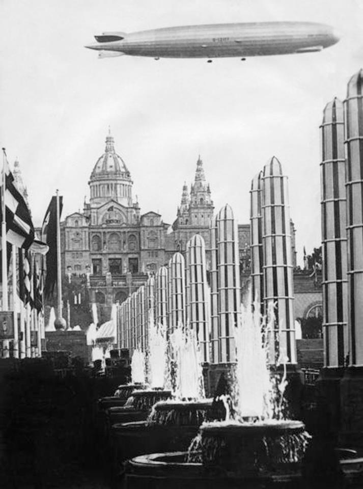 El Conde Zeppelin sobre la Exposición de Barcelona. Imagen: Heraldo Deportivo .