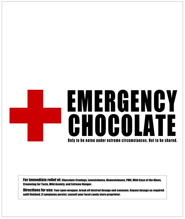 emergency-chocolate candy bar wrapper