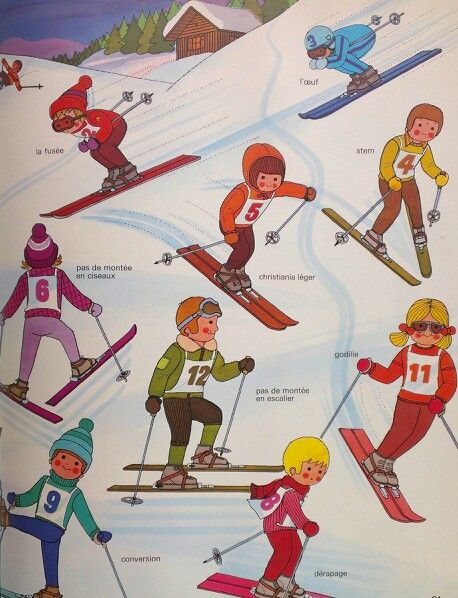 Skiers - by Alain Grée, from 'Sport' book