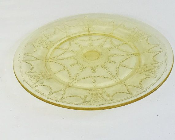 Depression glass plate: Anchor Hocking glassware, Cameo Depression glass, yellow Depression glass plate