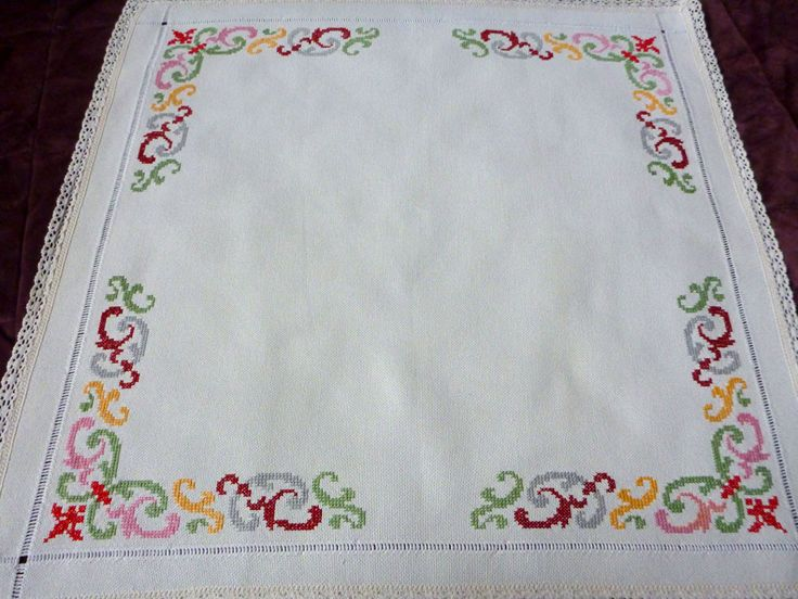 Vintage ecru square tablecloth with Cross Stitch by Retroom