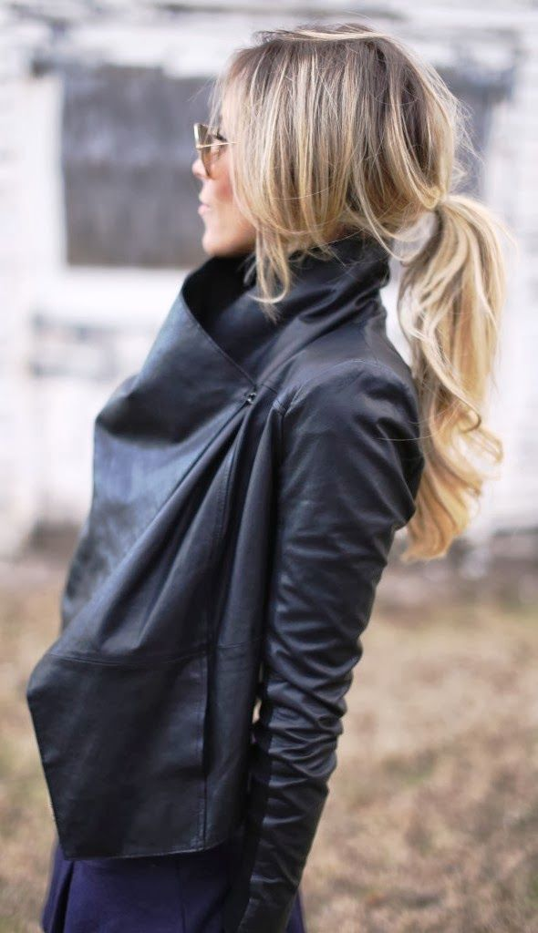 Beautiful waterfall black leather jacket | FASHION WINDOW