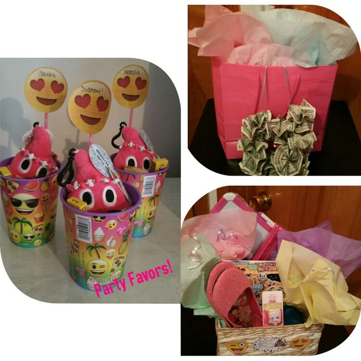 DIY Birthday gift. My daughters party was emoji. So I made emoji party favors and her gift I did a basket with a few items she would like including an emoji puzzle and I gave her and emoji poop pillow. She loved everything her and her friends had a blast!