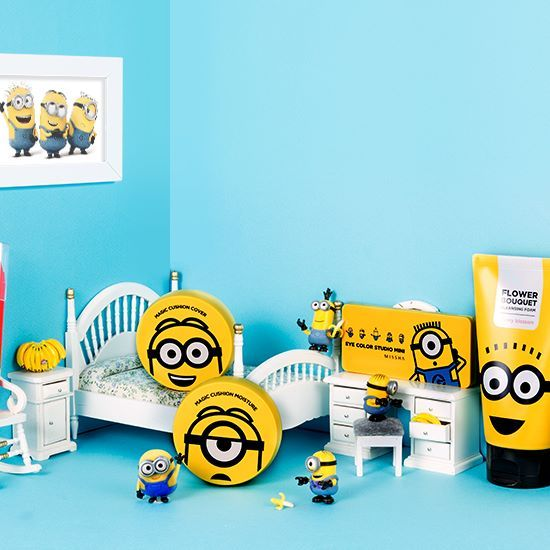 Welcome to Minions House! Minions in the room :) I wanted to share this adorable picture!  #minions #cushion #cleansingfoam #kevin #stuart #phil #carl #dave #jerry #missha #bbcosmetic #bbcosmetic_official