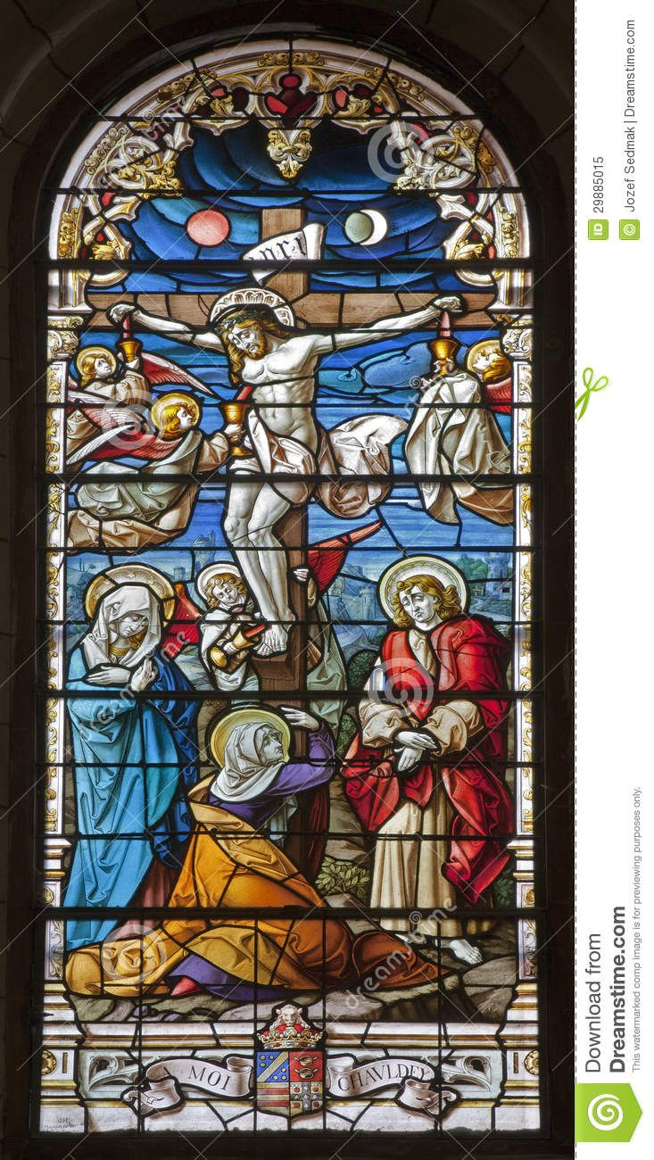 Madrid - Jesus On The Cross. Windowpane From Gothic Church San ...