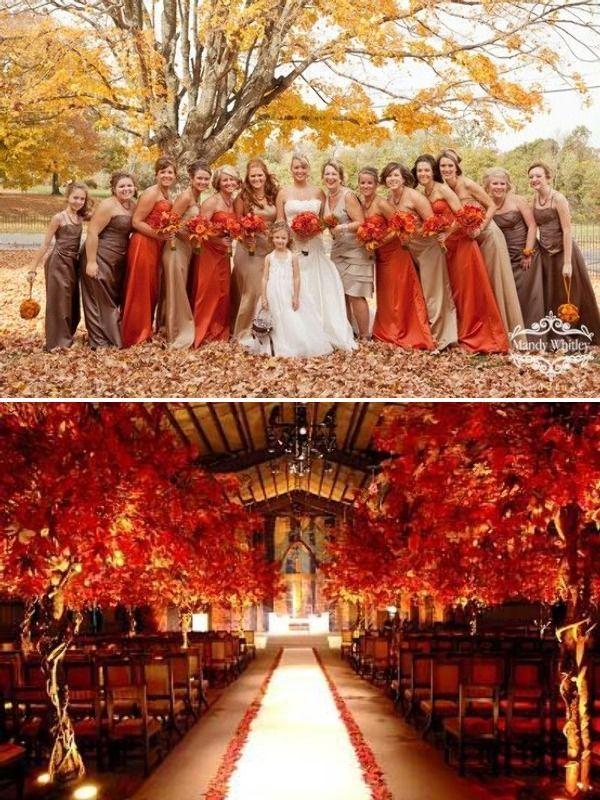 Decoración y damas para una boda de otoño