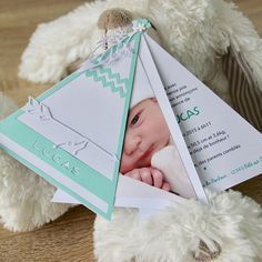 Announcement of birth or baptism – birthday invitations – Indian teepee + matching envelope – Christelle Burac