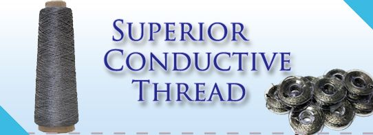 Conductive Thread by Superior Threads.  This is 4 ply conductive thread from Silverell.  Check the resistance before purchase.