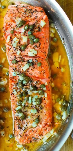 Steelhead Trout (or Salmon) with Caper-Garlic Lemon Butter Sauce - healthy, low-carb, gluten free dinner rich in lean protein and omega-3 fatty acids. (gluten free recipe)