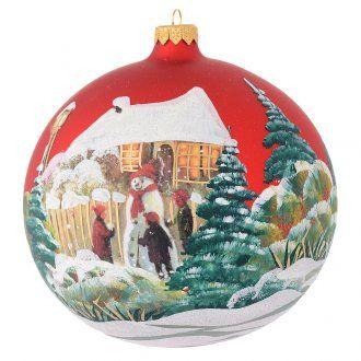 Tannenbaumkugel rotem Glas Decoupage Schneemann 150mm | Online Verfauf auf HOLYART