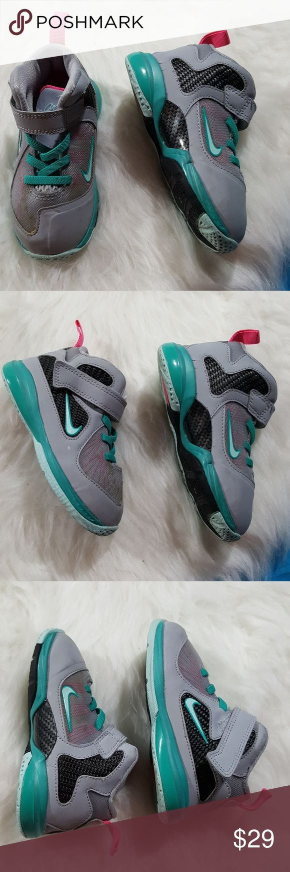 8c toddler le bron james nike shoes Really great condition LeBron James toddler shoes and aqua grey and hot pink. Some dirt on one of the shoes as picture to try to clean before sending. Otherwise excellent condition le bron james Shoes Sneakers