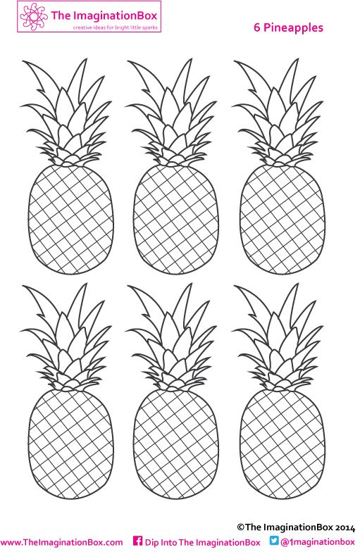 six pineapples to color  make into mini bunting if you want   u0026 use the theme to discuss the