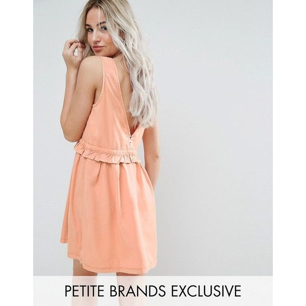 Noisy May Petite Drawstring Dress With Button Back Detail ($41) ❤ liked on Polyvore featuring dresses, orange, petite, woven dress, flounce dress, v back dress, petite dresses and frilly dresses
