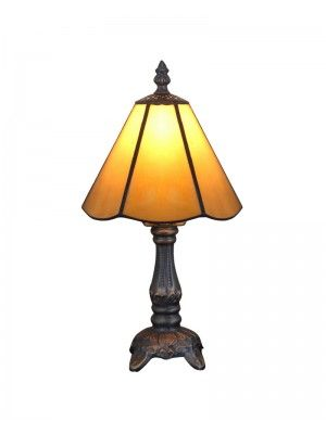 "6"" Zinc Base Yellow Stained Glass Tiffany Style Traditional Table Lamps"
