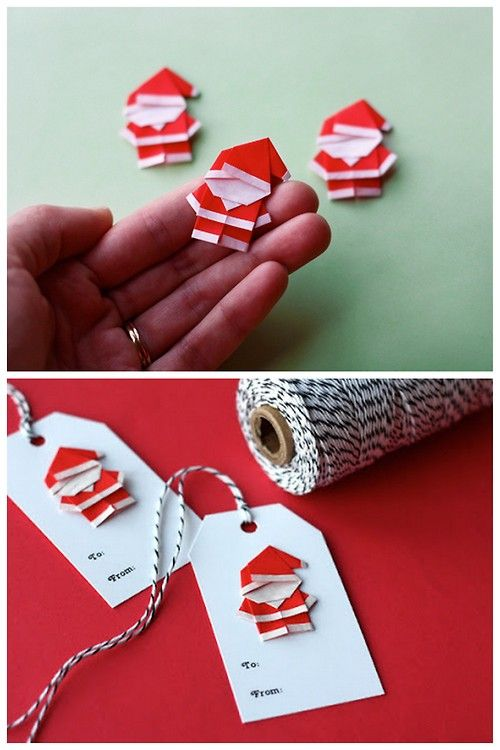 DIY Origami Mini Santas from How About Orange here. There are links to the tutorial for insturctions on how to make the mini Santas.