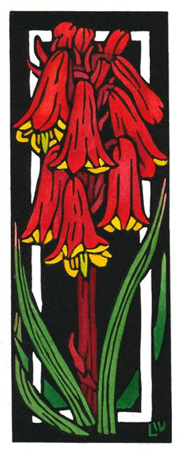 Tasmanian Christmas Bells Deco - Art Deco inspired Limited Edition Handpainted Linocuts by Lynette Weir