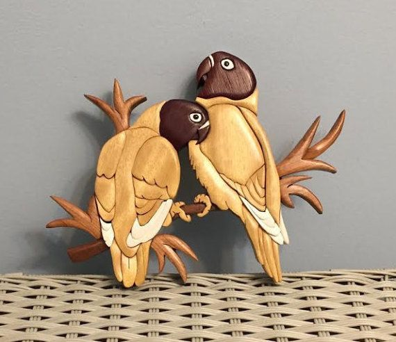 Item is an Intarsia Wood Art Love Birds Wall Hanging. Very Pretty and great shape.
