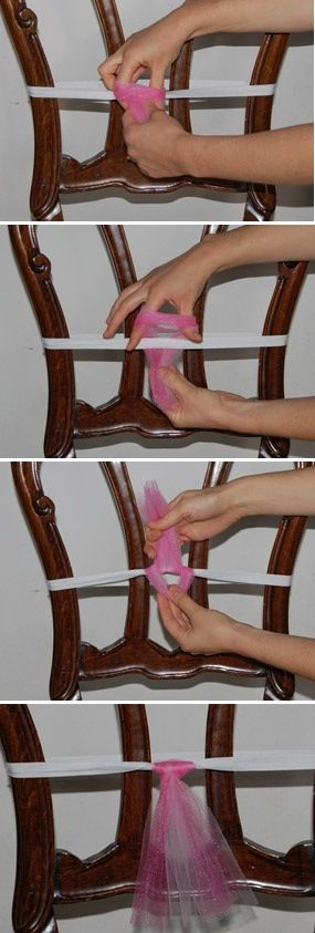 DIY no sew tutus - I am making this for many running events! Great pics. Wrap elastic (waistband) around chair and safety pin.  Loop tulle. Voila!!!