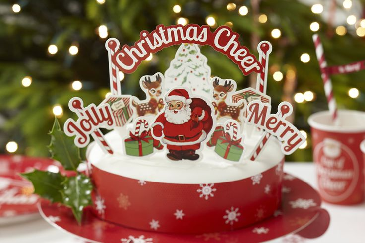 Christmas Cheer Vintage Christmas Cake Decorations from Pink Frosting Christmas Shop