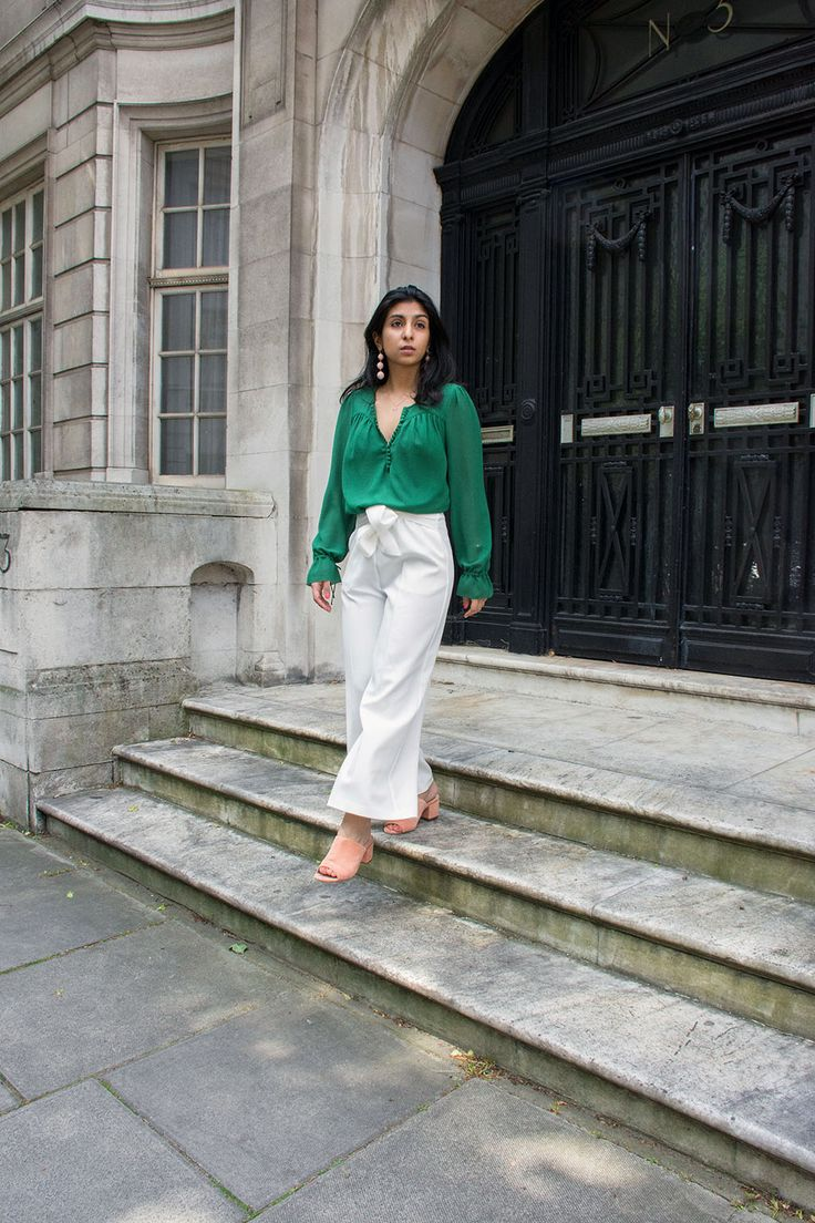 Fashion blogger Shloka Narang of The Silk Sneaker showcases the best summer pants for the London heatwave featuring Topshop and Ba&sh