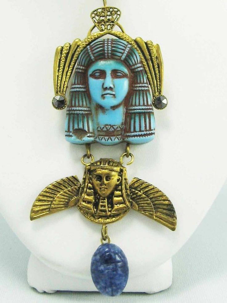 ART DECO EGYPTIAN REVIVAL Pharaoh Marcasite Lapis Gem Scarab Golden Necklace