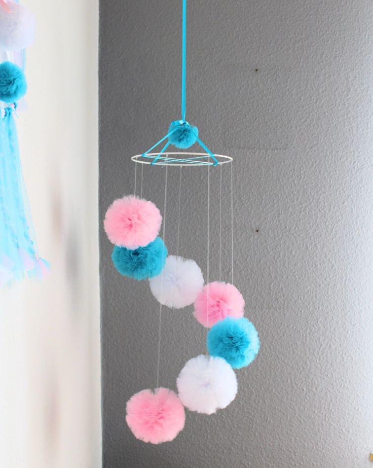 Baby Girl Mobile - Pink Cot Mobile - Pom Pom Mobile - Turquoise Ceiling Mobile - White Pompom - Hanging Mobile - Crib Mobile - Girl Nursery by PomponMyLove on Etsy https://www.etsy.com/listing/464647351/baby-girl-mobile-pink-cot-mobile-pom-pom