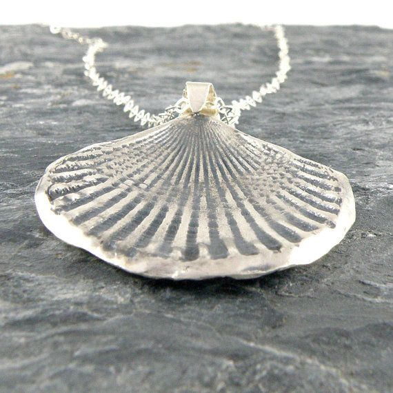 Silver Seashell Necklace  Seashell Sterling Silver by EfratJewelry