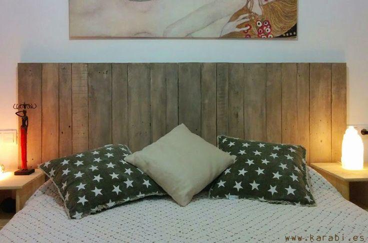 Cabecero de cama con palets de estilo envejecido - Cabecero cama palets ...