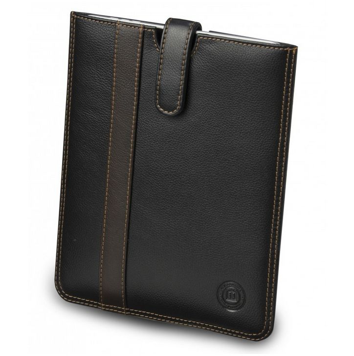 Black leather slip cover for iPad with brown stripe. Price: $70-80. More information: www.dbramante1928.com