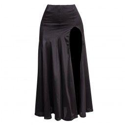 Black skirt with flared hem and split