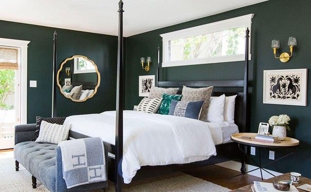These homeowners chose Essex Green HC-188 to create a #bedroom reminiscent of their favorite boutique hotel. (Via @elledecor)