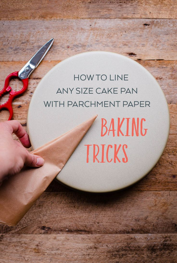 How to line a size cake pan with parchment paper - my favorite time-saving trick for cake baking. This is the EASIEST method for any size cake pan!