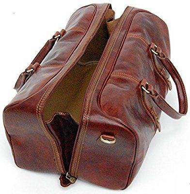 Genuine Italian Leather Holdall Cabin Bag Overnight Weekend Case Duffel Hand Luggage (Carry On, Brown)