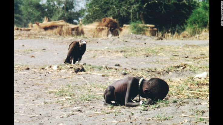 Starving Child in Africa – Later photographer Kevin Carter committed suicide from guilt. Photo won the pulitzer prize in 1993.
