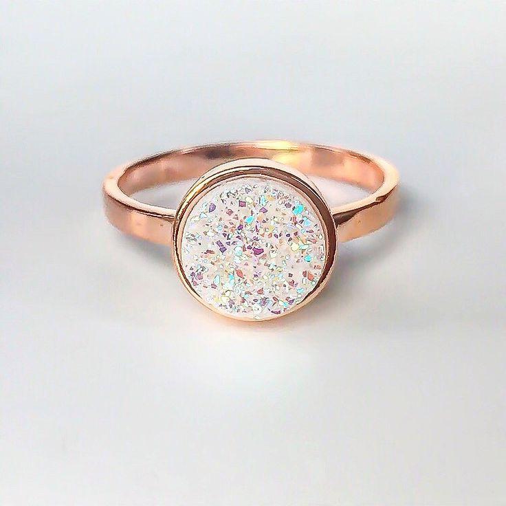 Rose Gold Copper: Rose Gold With Druzy Quartz Ring
