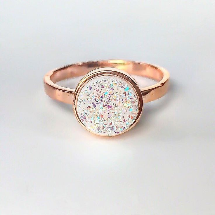 Rose Gold with Druzy Quartz Ring