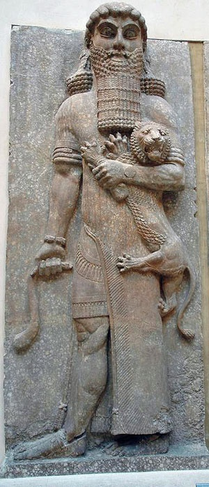 A statue of Gilgamesh overpowering a lion. It was found in Khorsabad  #Sumerian