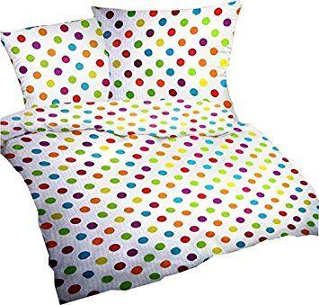 """Seersucker Bettwäsche-Set """"Bubble Bobble"""" 135x200 cm Weiß mit bunten Punkten - Bettdecke und Kopfkissen-Bezug aus 100%-Baumwolle - Der bügelfreie & luftig leichte Bett-Bezug für den Sommer"""